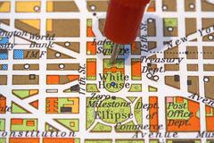 Close up of map showing needle in The White House. Stock Image