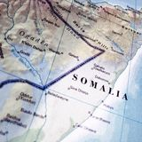 Close up map of Somalia. A close up of a map of Somalia royalty free stock image