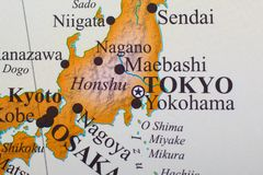 Map of Tokyo Japan. Close up map of Tokyo Japan in East Asia stock photos