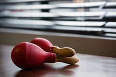 Close up of maracas on table Royalty Free Stock Photo