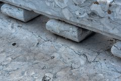 Close-up of marble bench with vein patterns and cracks Stock Photography