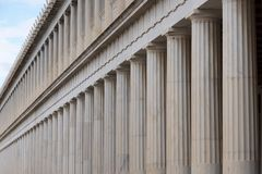 Close-up of marble Stoa of Attalos colonnades Stock Photography