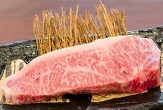 Close up marbled on fresh  Japanese Kobe Matsusaka beef Stock Photos