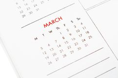 March calendar page. Close up march calendar page stock photography