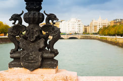 Close up of Maria Cristina bridge over Urumea  in Sant Sebastian Stock Photo