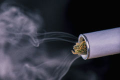 Close up of marijuana joint tip and smoke. Isolated against black Stock Photography