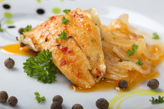 Close up of marinated fish with herbs Royalty Free Stock Photography