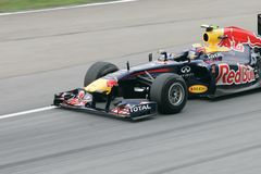 Close-up of Mark Webber on track Stock Photos