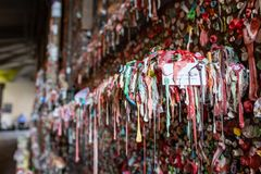 A close up of the Market Theatre Gum Wall in downtown Seattle The wall is a local landmark. royalty free stock image
