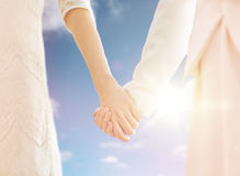 Close up of married lesbian couple holding hands Royalty Free Stock Photography