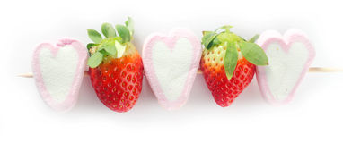 Close up Marshmallow and Strawberry Kebab Royalty Free Stock Photos