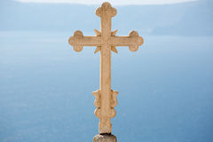 Close-up of an Marvelous Sculpted orthodox cross Stock Photo