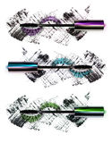 Close-up of mascara with false eyelashes in three versions: purple, green, blue, isolated on white background Stock Photos
