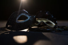 Masquerade masks on stage. Close-up of masquerade masks on stage royalty free stock photo