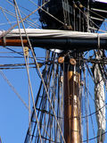 Close up mast of tallship. Close up of mast on tallship showing rigging royalty free stock image