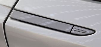 The close up of luxurious sport car door handle. Stock Photography