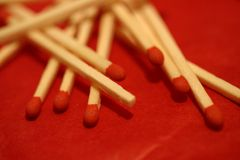 Close up matches composition, boxes, form and patterns Stock Image