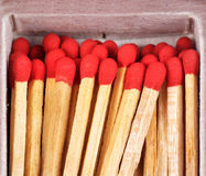 Close-up matches in matchbox Stock Images