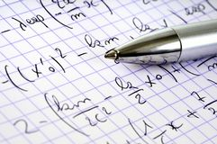 Close up on a math exercise and a pen stock image