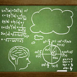 Close up of math formulas on a blackboard Stock Photos