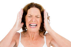 Close-up of mature woman shouting Royalty Free Stock Photo