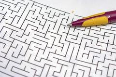 Close up maze labyrinth game.