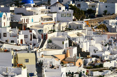 A close up of the mazy streets of Thira, the main town of the is Stock Photos
