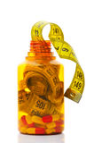 Close up of measuring tape in a pills bottle Stock Photography