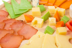 Close up of meat and cheese. Stock Photos