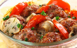 Close Up Meatballs In A Glass Pen Stock Image