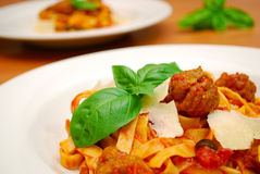 Close up of meatballs and pasta Stock Image