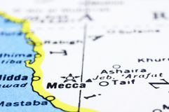 Close up of Mecca on map, Saudi Arabia Stock Photos