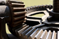 Close-up mechanical gear with a large toothed wheel Royalty Free Stock Photo