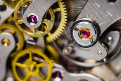 Close-up of mechanical watch and regulator jewel Stock Photo