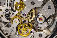 Close-up of mechanical watch and regulator jewel Royalty Free Stock Photo