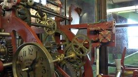 Tower clock mechanics stock footage