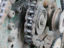 Close up mechanism chain. stock photo