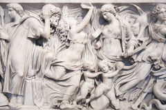 Close-up of Medea Sarcophagus (140 BCE) in the Altes Museum, Ber Stock Photos