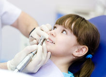 Close-up medical dentist procedure of teeth polishing with clean Stock Images
