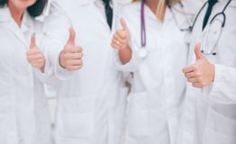 Close up. Medical personnel showing thumbs up.photo with copy sp. Ace royalty free stock photo
