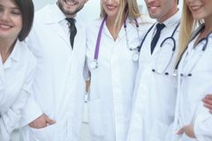 Close up.Medical staff of the clinic with a group of doctors and assistants stock photo