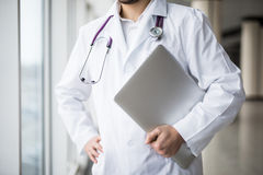 Close-up of a medical worker with laptop stock images
