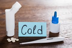 Medication On Cold Concept. Close-up Of A Medication On Cold Concept At Wooden Desk Stock Image