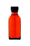 Close up on a medicine bottle with red syrup Royalty Free Stock Photography