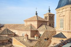 Close up of the medieval roof of the church of Saint Ildefonso. Royalty Free Stock Image