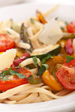 Close Up of Mediterranean Vegetable Pasta Royalty Free Stock Images