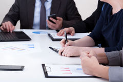 Close-up of meeting in company Stock Photos