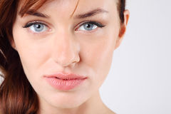 Close-up of melancholy young and pretty caucasian woman Royalty Free Stock Images