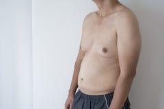 Close up men boob. Of fat man Royalty Free Stock Photo