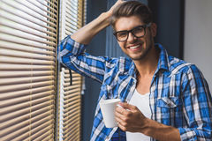 Close up of a men with cup Stock Photo